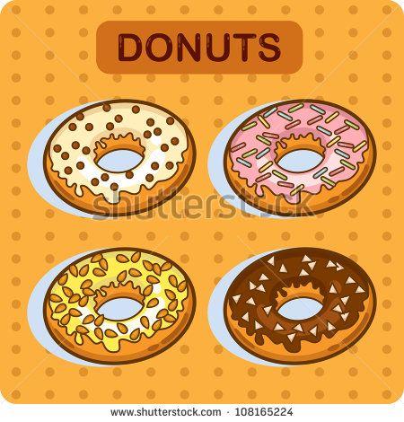 Tasty donut - cartoon vector. Set of donuts. Cartoon illustration.