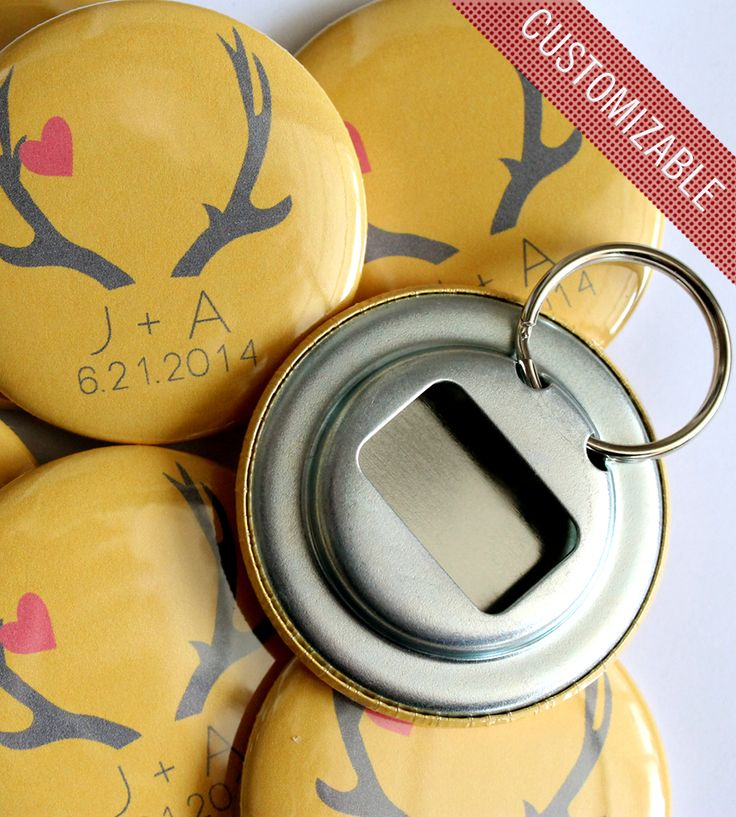 Cute custom #wedding favors! Bottle Opener Keychains