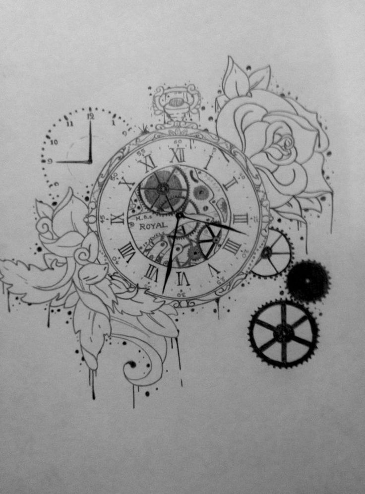 Stopwatch, cogs& roses drawing in pencil