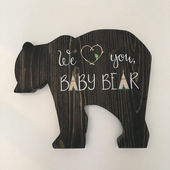 Baby Bear Sign Woodland Nursery Baby Shower Gift by MimsysPlace