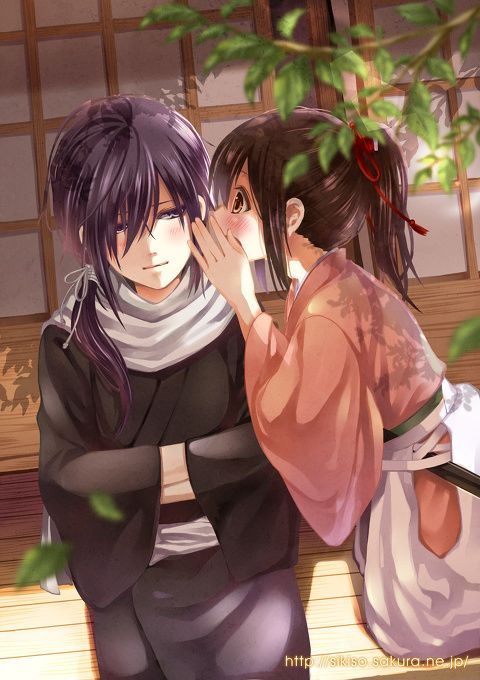 Anime couple sharing secrets. cutest thing ever chizuru and hijme-kun