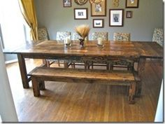 This is what I want! DIY farm table for 10. Front bench, 4 chairs on backside, and two schmancy end chairs, set in back corners for everyday. Add a console, mirror, and buffet lamps to back wall. Presto!