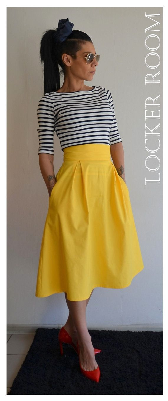StitchFix: I love this look of the high-waisted midi skirt with the striped t-shirt. This skirt would the right length for me. Not sure I'd wear yellow though.