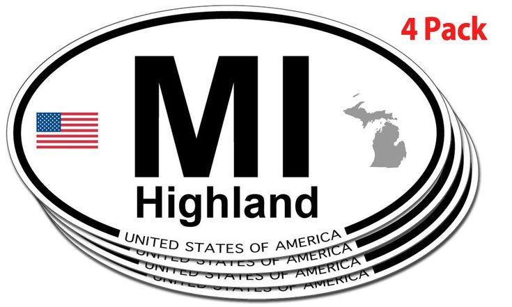 Michigan >> Amazon.com: Highland, Michigan Oval Sticker - 4 pack: Automotive | @giftryapp | Christmas Ideas ...