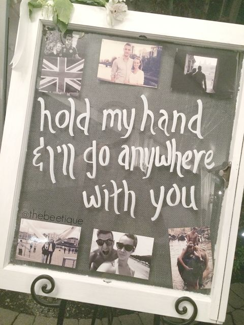 DIY Antique Window x Wedding Photo Quote Display. Perfect for a vintage meets rustic country theme, and super easy tutorial. Hold My Hand and I'll Go Anywhere With You via thebeetique.blogspot.com