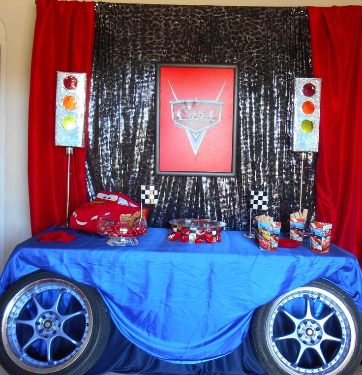 Pixar Cars Themed Birthday Party Backdrop And Table Decor