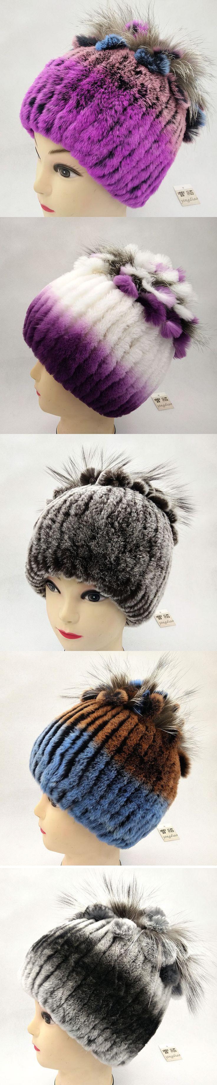 Winter fur hat for women real rex rabbit fur hat with silver fox fur flower knitted beanies 2017 new sale high-end women fur cap