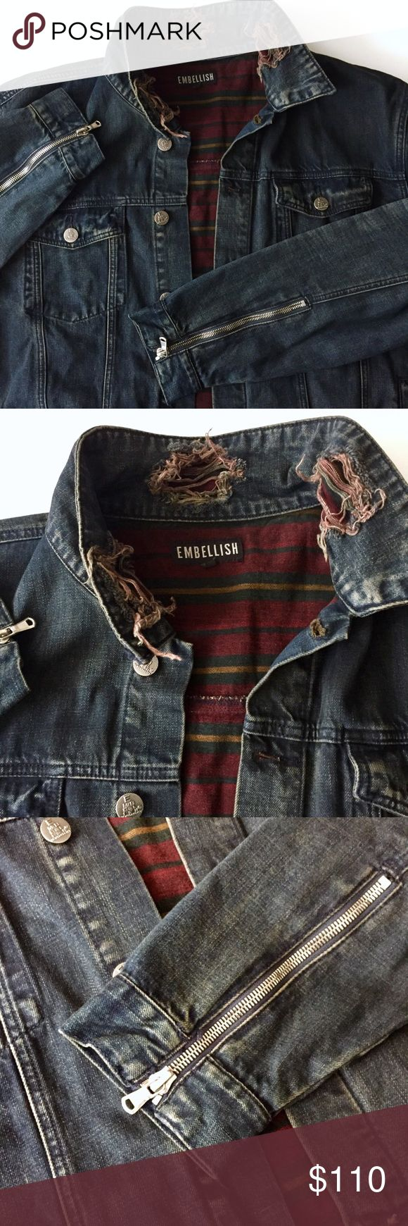 Men's Denim Jacket EMBELLISH /  DENIM JACKET Men's Big & Tall 3X - Dark blue vintage style wash  - Ripped embellish detail - Plaid Flannel lining  - Silver buttons / side zippers at hips and on sleeves ✅ NWOT- brand new. Ordered online- no tags ever included. Never worn ✅ NO trades / NO low-balling ✅ List price is fair and highly discounted✌️ Embellish Jackets & Coats