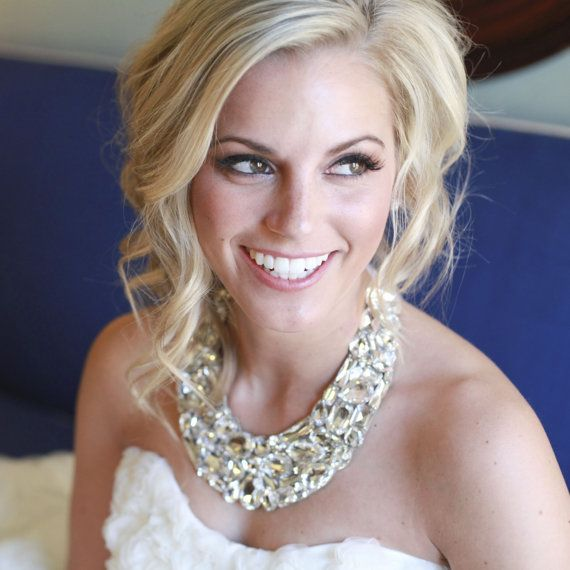 statement necklace bridal swarovski crystal vintage bib wedding necklace