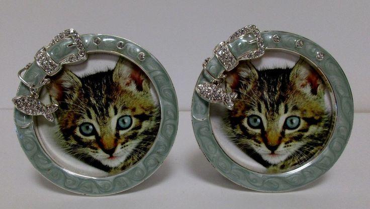 2 Cat Photo Frames Round Metal Green Enameled Frames White Rhinestone Accents