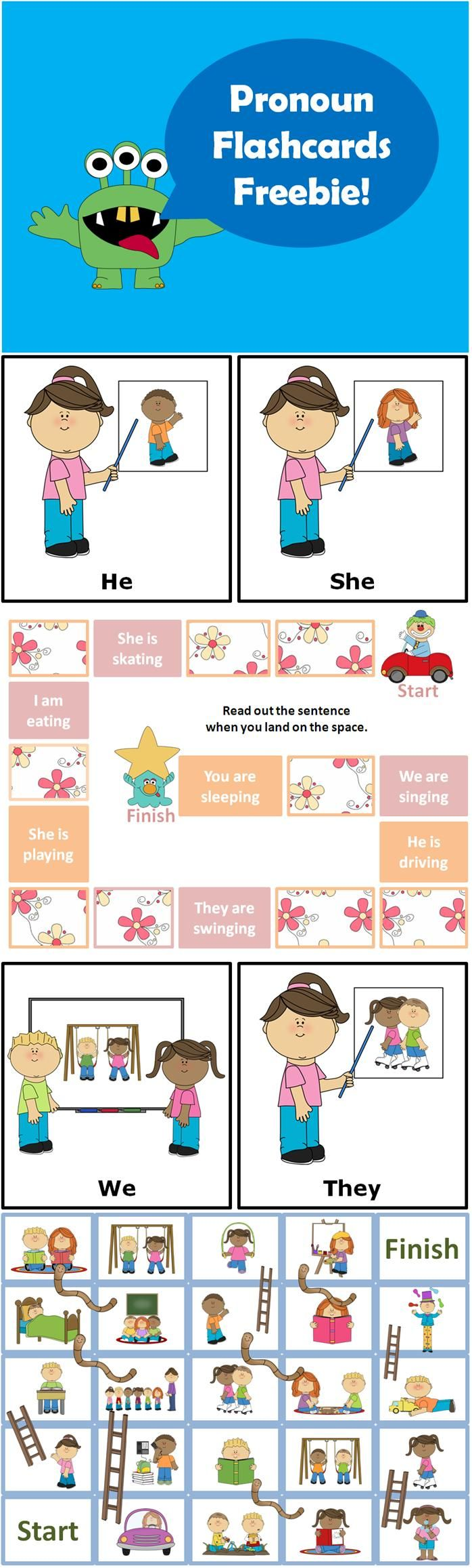 *FREE* Subject Pronouns Flashcards + Board Games  This freebie contains 8 Subject Pronoun Flashcards (I, You, He, She, We, They, It) + 2 board games!  http://www.teacherspayteachers.com/Product/Subject-Pronouns-Flashcards-Board-Games-ESL-Roller-Freebie-780986