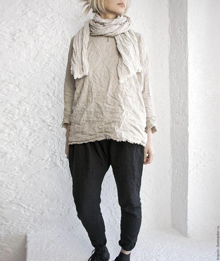 Купить Льняная туника - бежевый, однотонный, рубаха, льняная одежда, льняная туника, лён 100%