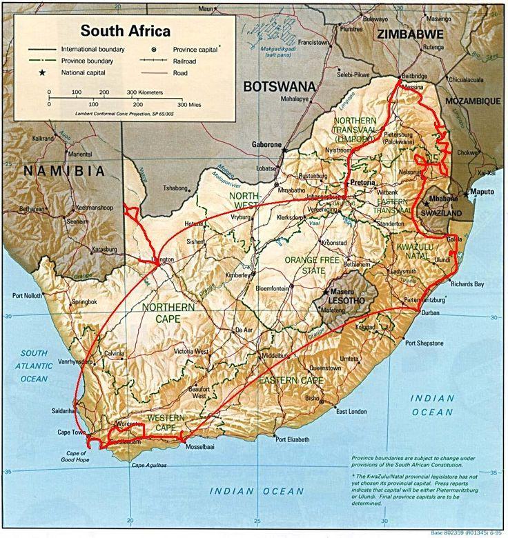 Carte Afrique du Sud