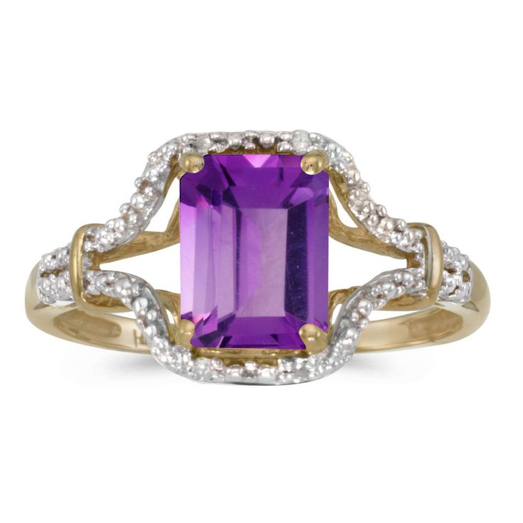 10k Yellow Gold Emerald-cut Amethyst And Diamond Ring #DirectJewelry #christmas