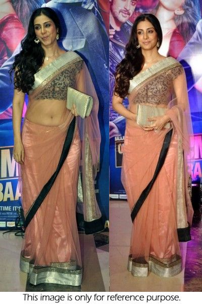 Bollywood Style Tabu Net Saree In Peach Colour NC784