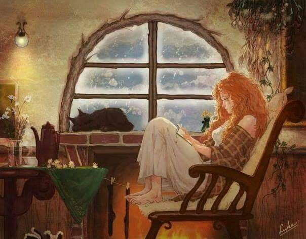Reading cat nook chair girl woman comforting cozy
