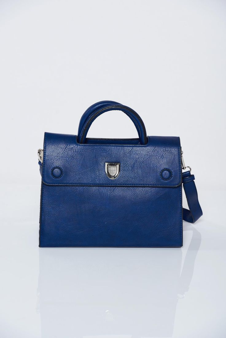 Comanda online, Geanta dama albastru-inchis office cu accesoriu metalic. Articole masurate, calitate garantata!