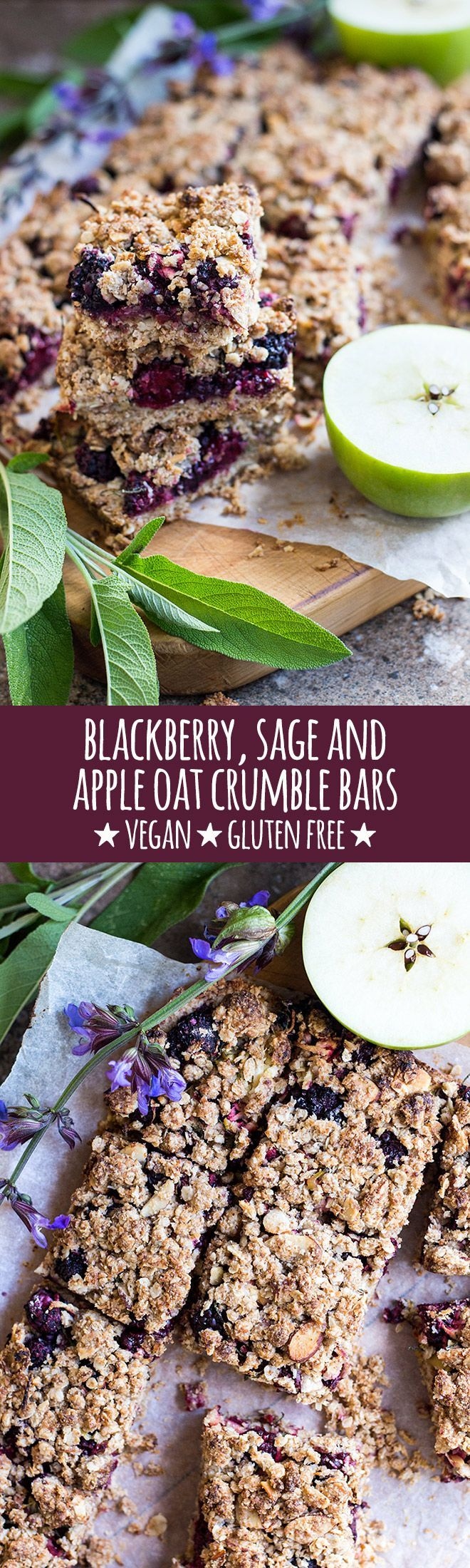 Oat crumble bars with blackberries, apple and a subtle hint of fresh sage and lemon are great for breakfast, snacks or warmed for dessert. via @quitegoodfood