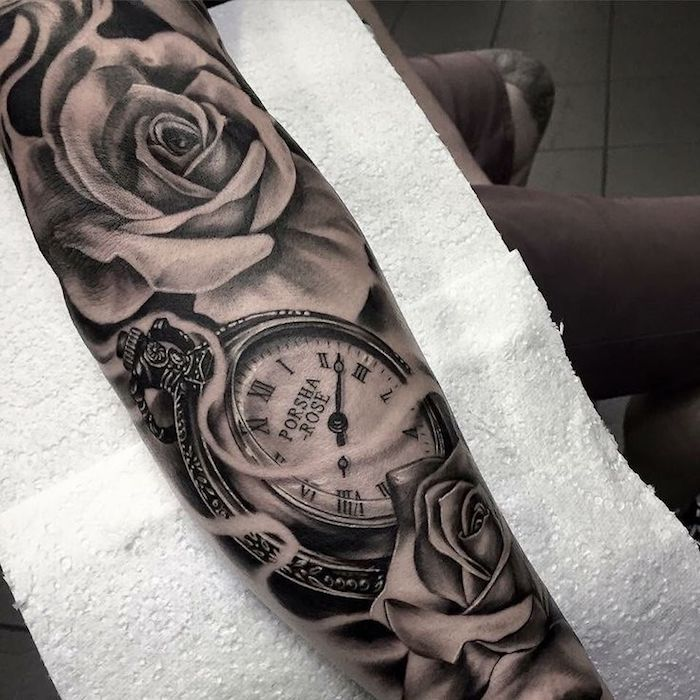 tattoo uhr, am unterarm, uhr in kombination mit weißen rosen tattoo quotes tattoos tattoos tattoo fonts for men meaningful quotes quotes about life quotes latin quotes motivational Rose Tattoos For Men, Trendy Tattoos, Tattoos For Women, Tattoos For Guys, Mens Tattoos, Army Tattoos, Star Tattoos, Dove And Rose Tattoo, Sleeve Tattoos For Men
