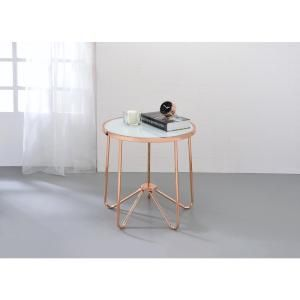 Acme Furniture Alivia Rose Gold and Smokey Glass Top End Table 81842 at The Home Depot - Mobile