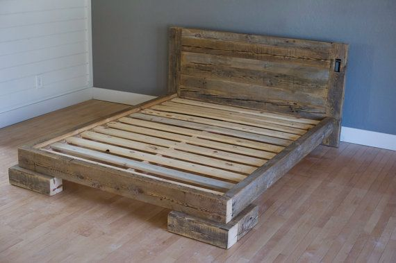 reclaimed wood platform bed constructed of salvaged pine timbers from minnesota made in usa queen size free shipping