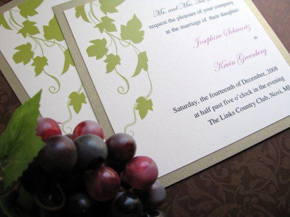 Wine Vineyard Wedding Invitation Grapevines by decadentdesigns, $2.00