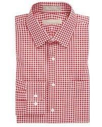 Weißes und rotes Businesshemd mit Vichy-Muster