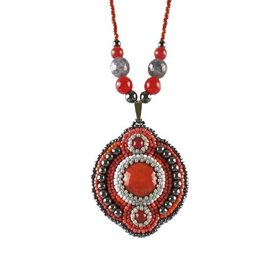 Red Bead embroidery Gemstone Necklace, Beadwork Ceramic Jewelry, Seed Bead embroidered, Beaded, Ethnic, Red Gray and Black Gemstone Jade