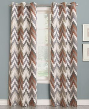 """Sun Zero Cade Thermal Lined Curtain 40"""" x 63"""" Panel - Brown"""