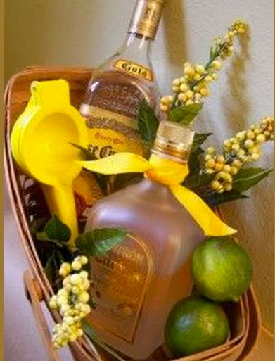 A nice thing about the margarita basket idea is that you can vary it to fit your budget. For example you could skip the squeezer and add more limes, vary the types of tequila and orange liquor or s...
