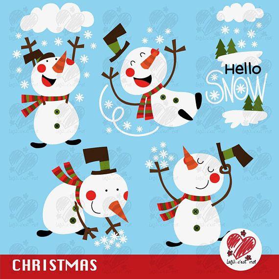 70% DESCUENTO Muñeco de nieve Clip art...Hola nieve Navidad
