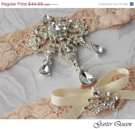 15 OFF Bridal Garter Wedding Set Stretch Lace Keepsake And Toss Garters Rhinestone