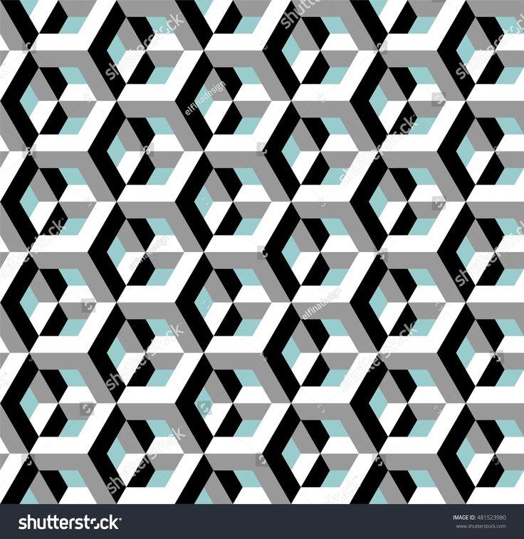 Architectural pattern, optical illusion, vector illustration