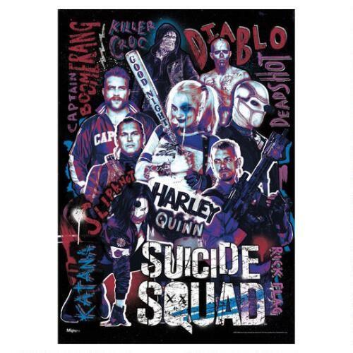 DC Comics Suicide Squad Poster featuring the cast (Harley Quinn, Rick Flag, Deadshot, El Diablo, Captain Boomerang, Slipknot, Katana, and Killer Croc)