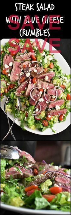 Steak Salad with Blue Cheese Crumbles 10 mins to cook, serves 8 Ingredients Gluten free Meat 2 lbs Sirloin or flank steak work well, Steak Produce 4 cups Baby arugula, Fresh 1 Cucumber 1 pint Grape tomatoes 1 Bunch Radishes 1/2 Red onion, very thin 1 Head Romaine lettuce Baking & Spices 1 tsp Italian seasoning 1 1/4 tsp Pepper 1/2 tsp Salt 1 tbsp Season salt Oils & Vinegars 5 tbsp Olive oil 1/4 cup White wine vinegar Dairy 4 oz Blue cheese  beefz