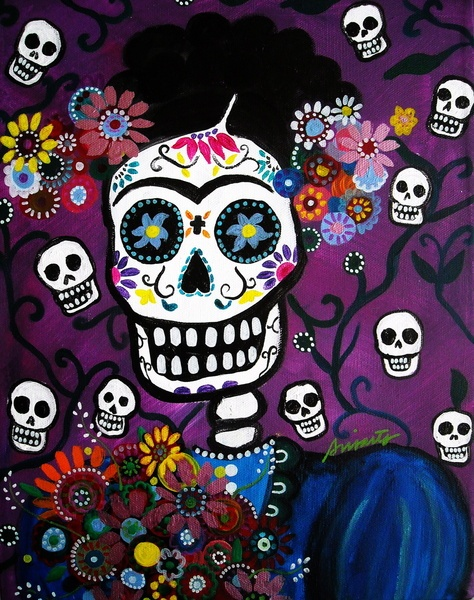 Mexican Dia de los Muertos Frida Kahlo Painting Art Print