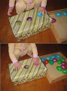 Easter egg shoebox drop. Site has lots of ideas of activities for toddlers and preschoolers using plastic eggs, shoe boxes, Kleenex boxes, oatmeal containers, etc.