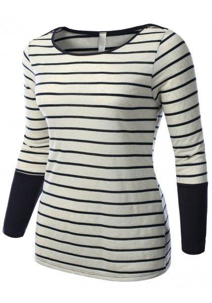 Striped Crewneck 3/4 Sleeve Top #jtomsonplussize