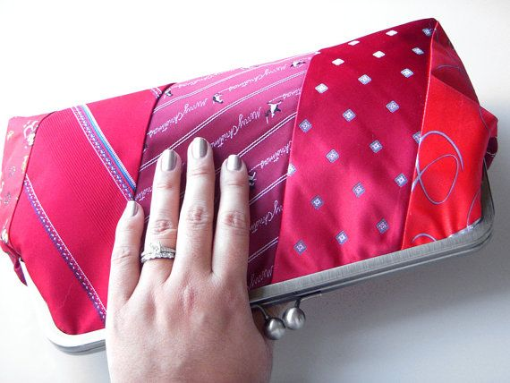 recycled tie clutch.. cute
