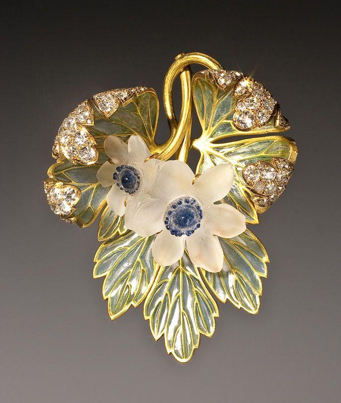 Rene Lalique Art Nouveau 18K gold, plique-a-jour enamel, and blue diamond…