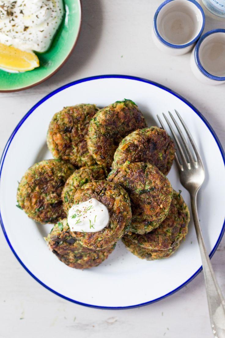 Vegan Greek zucchini fritters - Lazy Cat Kitchen