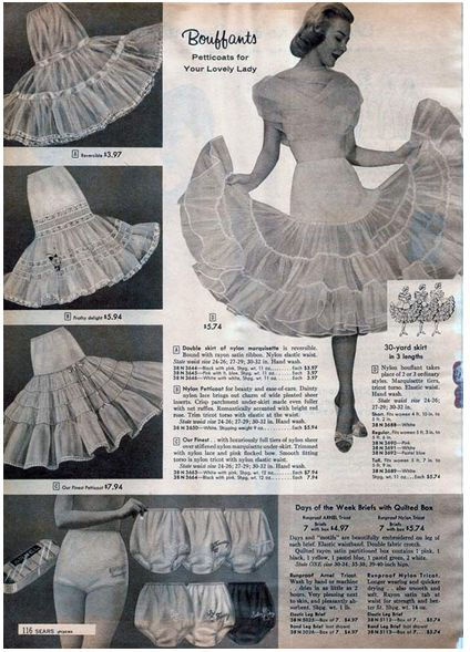 The full skirts of the 1950's needed some sort of support in order to maximize their look. Thus, nylon petticoats were formed! Nylon was a favorable material because of its high quality and easy care wash. This fullness it created transformed the skirt who gave nothing more than a gentle swish, into a glamorous royal-like flutter. (5)