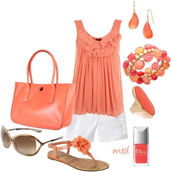 Summer is coming....and this peachy outfit would be perfect!: Coral, Fashion, Style, Clothes, Dream Closet, Favorite Color, Spring Summer, Summer Outfits, Peach Outfit