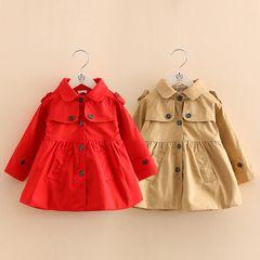 Детские сплошной цвет пальто весна 2017 года новый корейский детской одежды девочки лацкане однобортный пальто Wt-6621