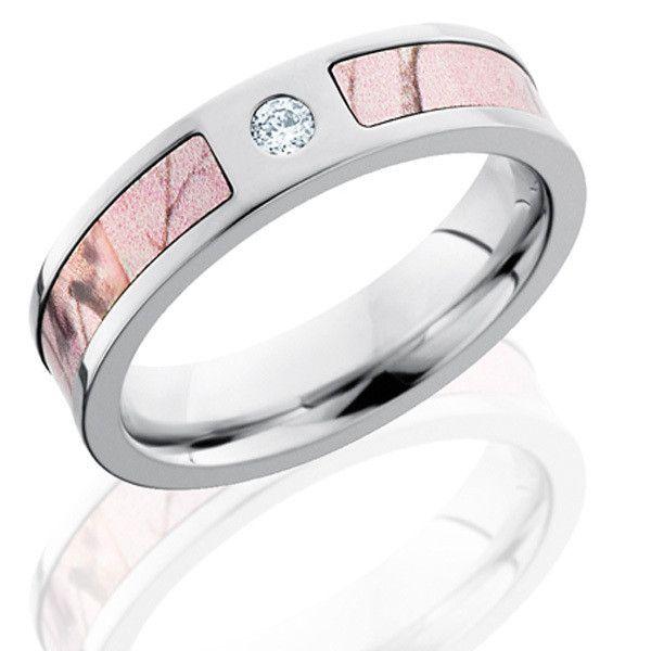 8 6mm Titanium CZ stone inlaid Pink Realtree Max-4 Camo Engagement Ring Camo wedding band