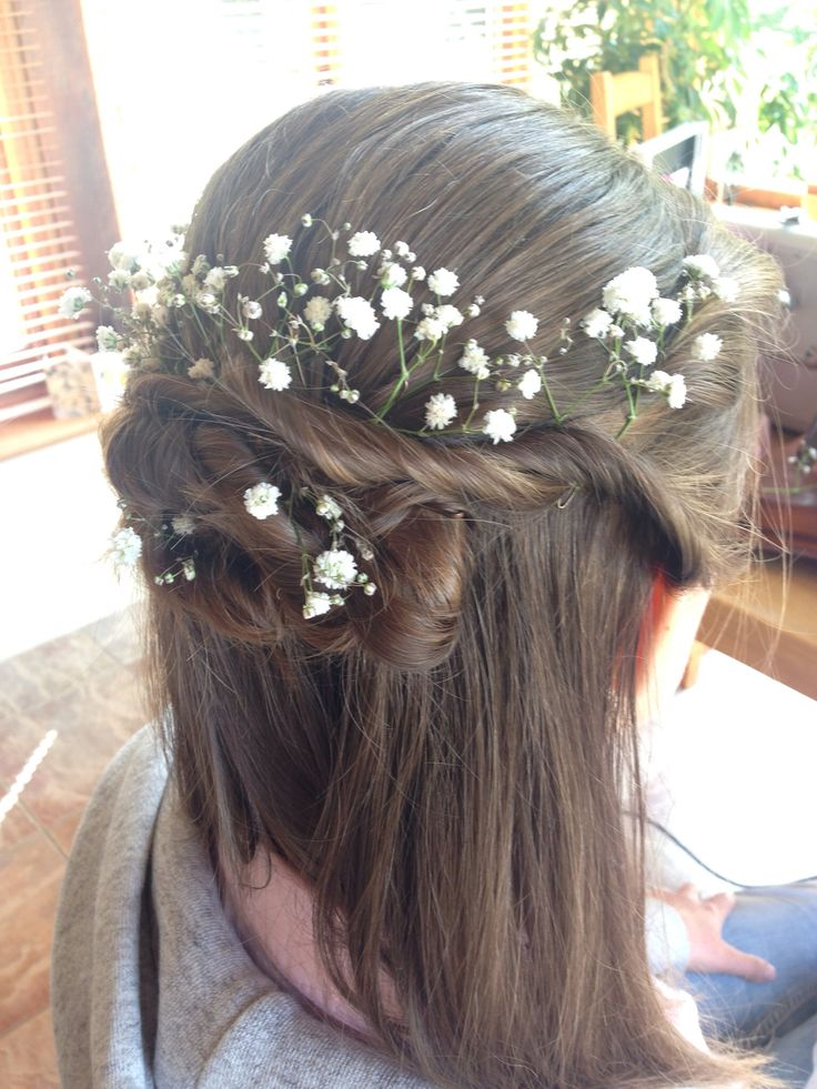 Bridesmaid hair, twisted knot with gypsophila