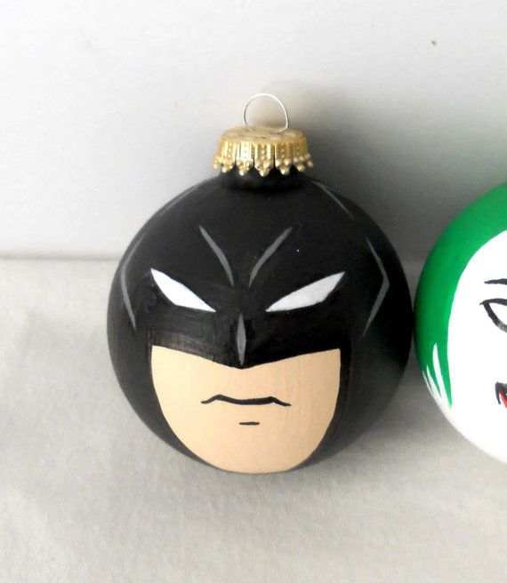 Batman Dark Knight Painted Christmas Ornament by GingerPots, $15.00---boys would love for their trees