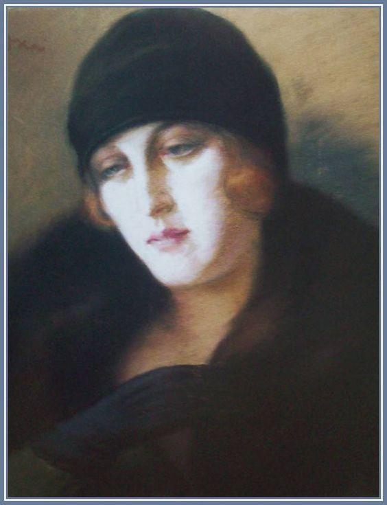 Rippl-Rónai József - Fekete kesztyűs hölgy (54,5x44,5 cm.):