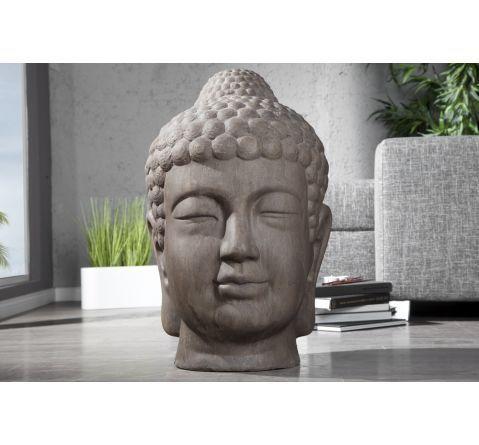 Statue t te de bouddha antique marron 70 cm for Tete bouddha pour jardin
