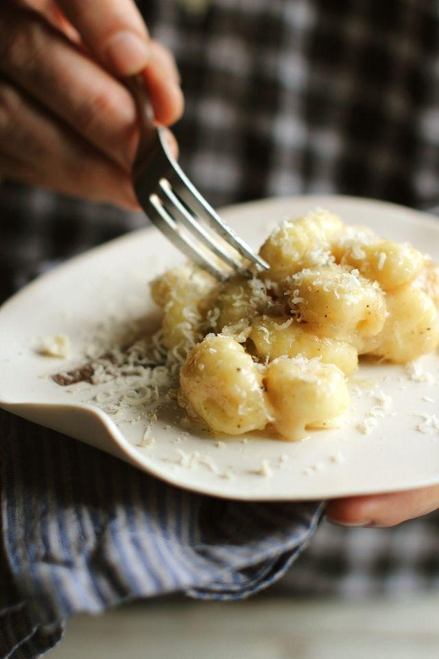 Gnocchi and Castelmagno cheese, classic Piemontese dish